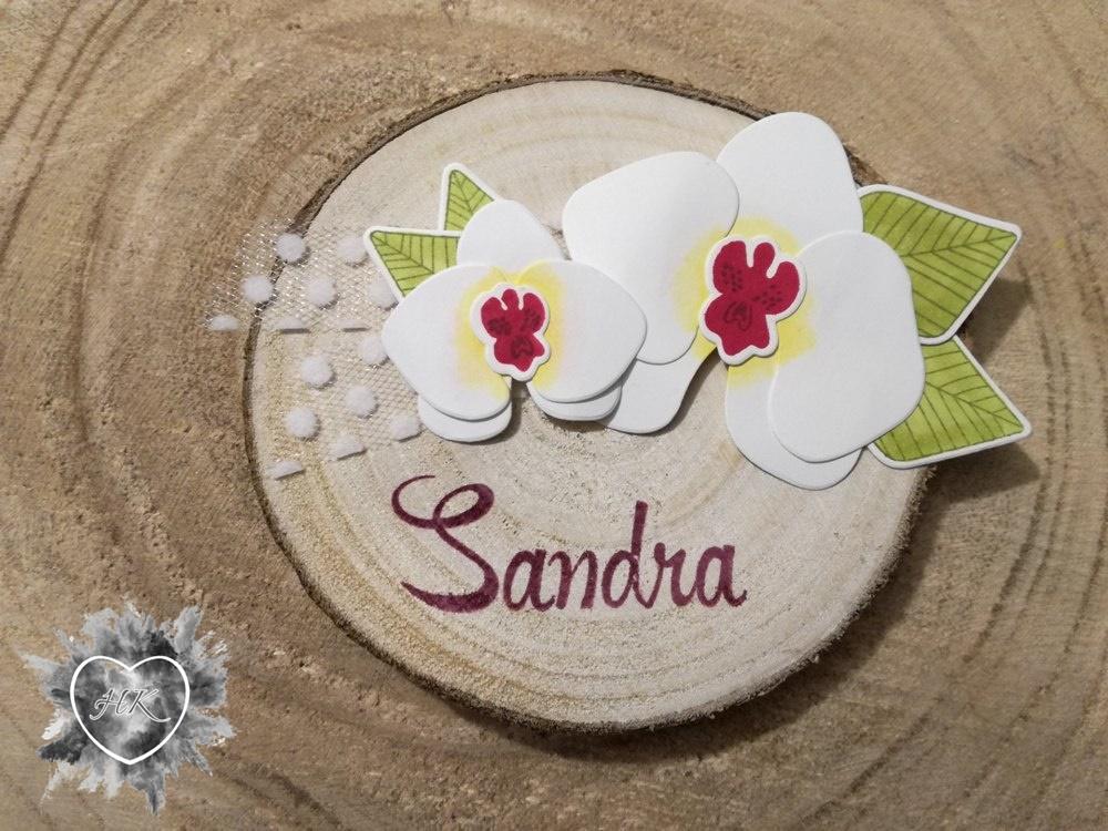 Stampin' Up!, Orchideen, Namensschild, Tüllband, Holz