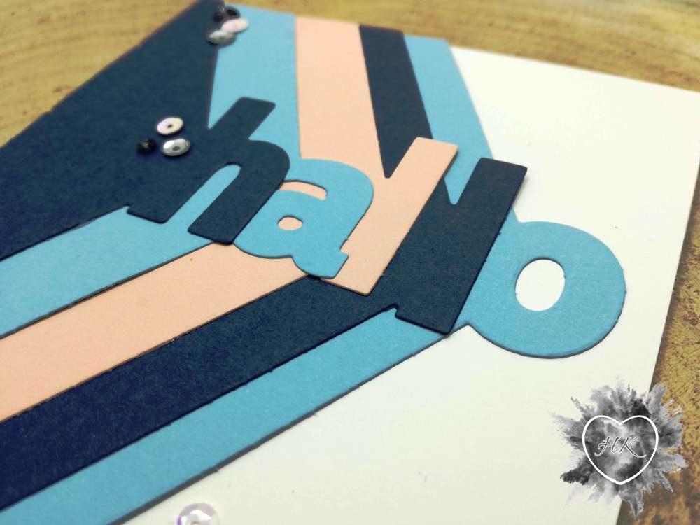 Stampin' Up!, Lagenweise Buchstaben, Babyblau, Blütenrosa, Marineblau, Karte,