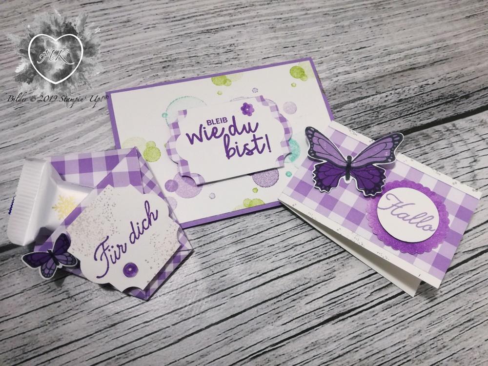 Stampin' Up!, Verpackung; Karte; Schmetterlingsglück, Schmetterlingsduett; Alles was Freude macht