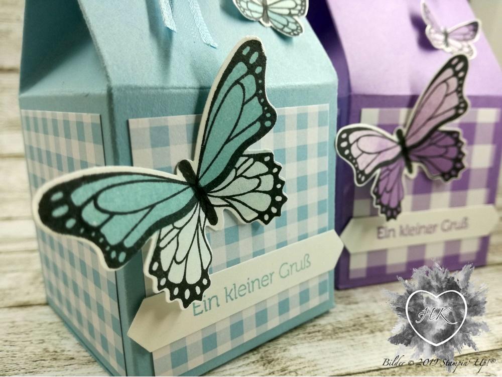 Stampin' Up!, Schmettlingsglüvk; Schmetterlingsduett; Gartenglück; Milchkarton; Verpackung; Klassisches Etikette; Klitztkleine Grüße