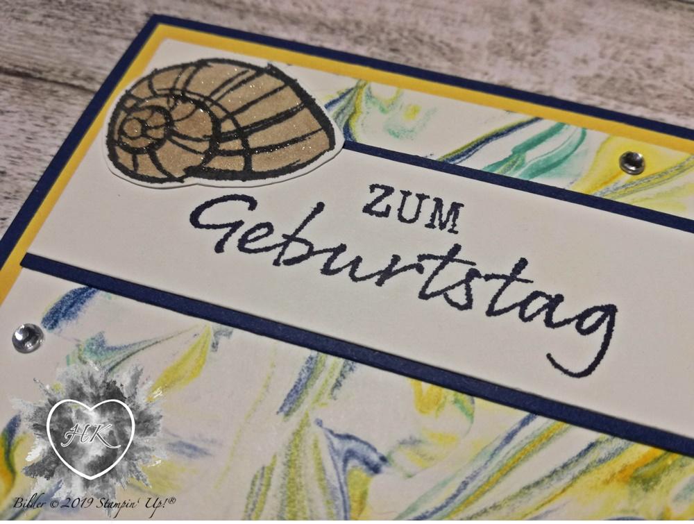 Stampin' Up!, Karte; Rasierschaumtechnik, Mit Meerwert
