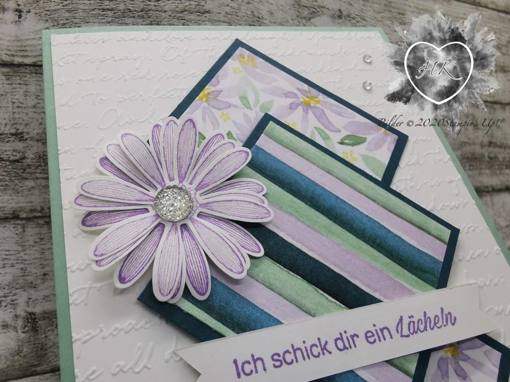Stampin' Up!, Karte; Minikatalog Januar- Juni 2020; Mit Stil und Klasse; Gänseblümchenglück; Schreibschrift